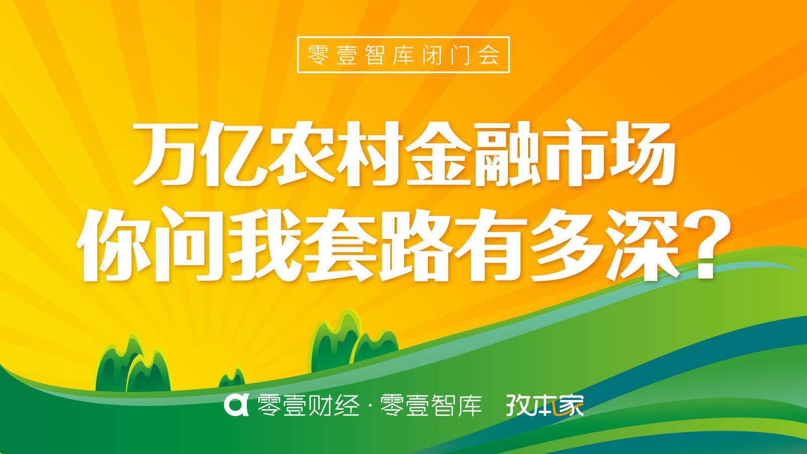 """零壹智库闭门会·第19期""""万亿农村金融市场:你问我套路有多深"""""""
